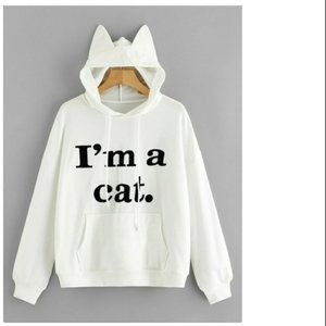 Tops - I'm a Cat White Pullover Hoodie